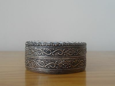 Vintage Chinese Silver Plated (?) Blue White Porcelain Shard Trinket Jewelry Box