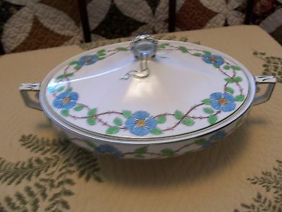 grindley oval serving dish bowl cover (covered) plates turquoise blue flowers