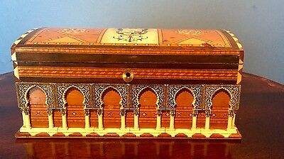 A Unusual Painted Inlaid With Moulding Wooden Tea Caddy/Jewellery Box