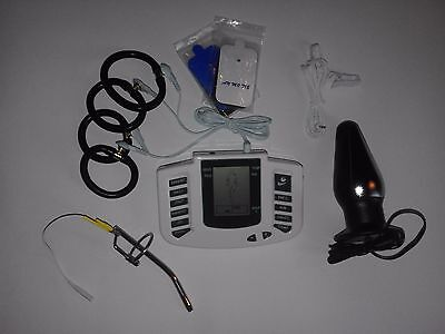 Electro E-Stim Tens Lcd Set With Urethral,Large Plug,Pads,Clips,And 4 Rings.uk !