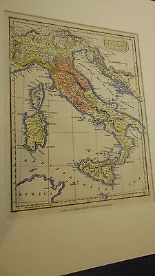 Circa 1820 A Map Of Italy - Original And Hand Tinted In Very Nice Condition