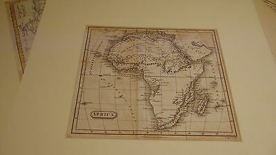 1810 Original - Map Of Africa R. Phillips Mounted On Card In Very Good Condition