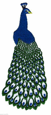 Peacock Iron On Embroidered Patch Motif Badge Applique Fabric Sewing Crafts