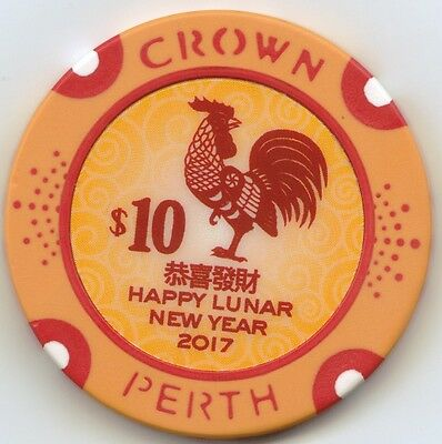Year of the Rooster $10.00 Chip - Crown Casino Perth - Western Australia