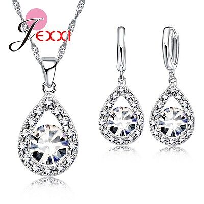 925 Sterling Silver Wedding Anniversary Jewelry Sets CZ Stone Water Drop