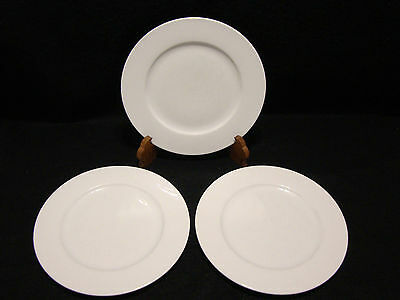 """Rosenthal CLASSIC ROSE COLLECTION DINNER PLATES Lot x 3 Pure White 10 1/4"""" inch"""