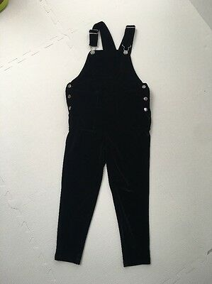 Next Girls Black Velor Dungarees - Age 5 Years - Worn Once - Immaculate Cond.