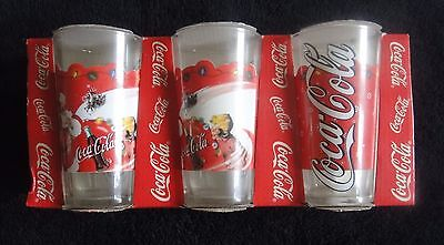 Set Of 3 Christmas Coca Cola Glasses. Box Dated 1999.