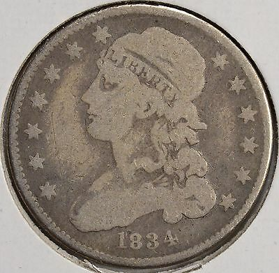 1834 25C Capped Bust Silver Quarter Rotated Reverse VG
