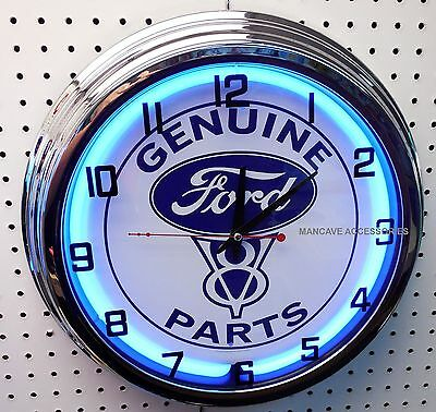"17"" FORD Genuine V8 Parts Sign Neon Clock"
