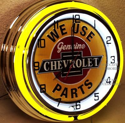"18"" We Use Genuine CHEVROLET Parts Sign Double Neon Clock Chevelle Camaro Chevy"