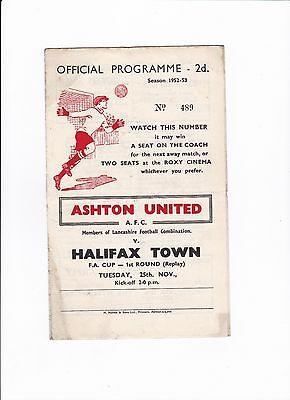 1952/53 ASHTON UNITED v HALIFAX TOWN (FA CUP 1st Round REPLAY)