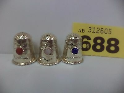 3 x Continental / European Sterling Silver Thimbles with Various Colour Stones