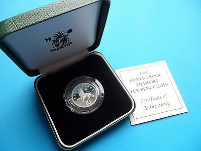 1992 SILVER PROOF PIEDFORT 10p COIN