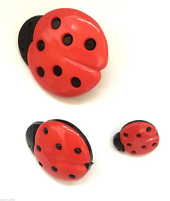 Ladybird Buttons Red and Black 3 Sizes 15mm 25mm 35mm Crafts Sewing Insects
