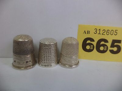 3 Charles Horner Solid Silver Thimbles SIZE 5 6 7 - Chester / 1907 / 1913 / 1919