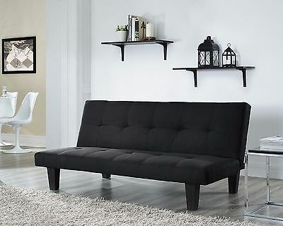 Fabric 3 Seater Sofa Bed Black Faux Suede Fabric Designer Sofabed