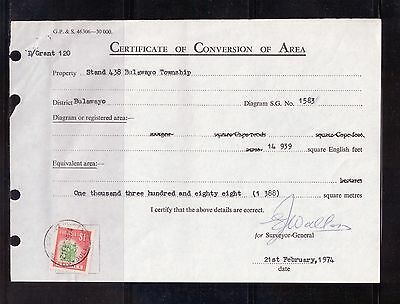 Rhodesia - 1974 Certificate of Conversion with $1 Revenue Stamp