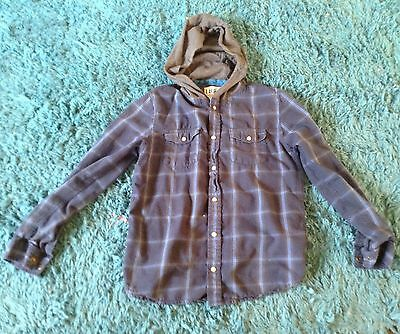 Boys Checked Shirt With Hood 13/14 Years M&S
