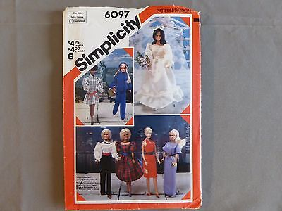 Simplicity 6097 Barbie Doll Clothes PATTERN UNCUT 7 Outfits