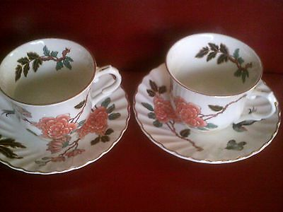 pair cups /saucers vintage james kent old foley eastern glory