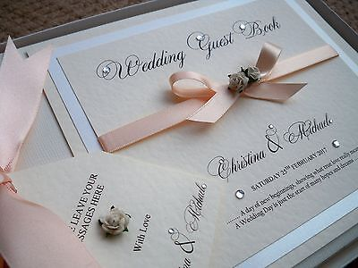 LUXURY PERSONALISED WEDDING GUEST BOOK ( Rosie )  Any Colour Satin Ribbon