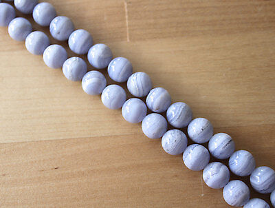 Natural Blue Lace Agate (Gemstone) 10mm Round Beads - 8 inch (30.32cm)