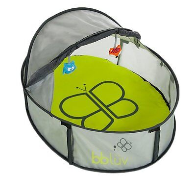 bblüv Nido Mini 2 in 1 Travel Bed and Play Tent, Grey/Lime