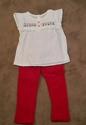 Girls Skinny Slim Next Red Cord Trousers and JoJo Maman Smock Tunic Top Age: 4-5