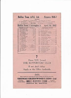 1946/47 Halifax Town v Accrington Stanley (Division 3 North)