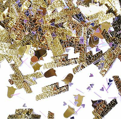 Gold Anniversary Embossed Metallic Confetti Celebration Table Sprinkles