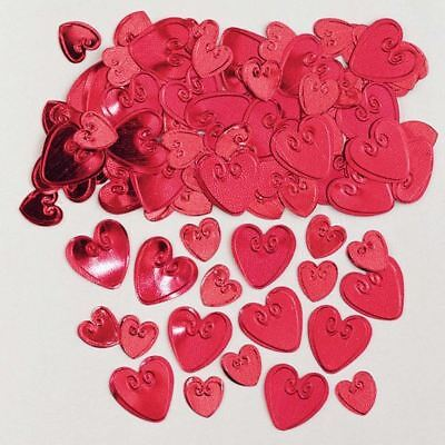 Embossed Metallic Ruby Love Heart Confetti Party Table Decoration Valentines