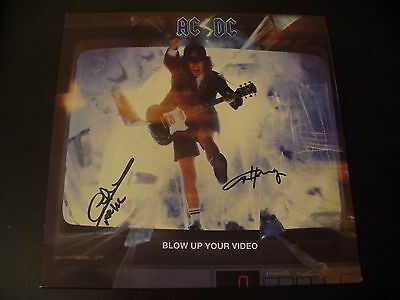 """Angus Young+Cliff Williams Signed """"AC/DC: Blow Up Your Video"""" Vinyl Cover+COA"""