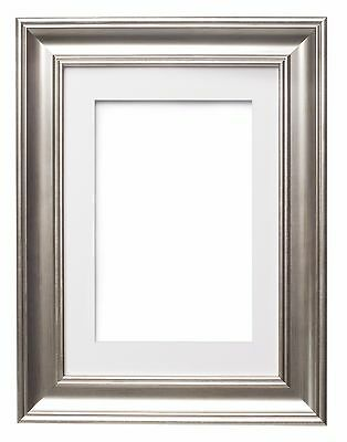 Shabby Chic Picture frame, SC Photo Frame Poster Frame with Bespoke Mount SILVER