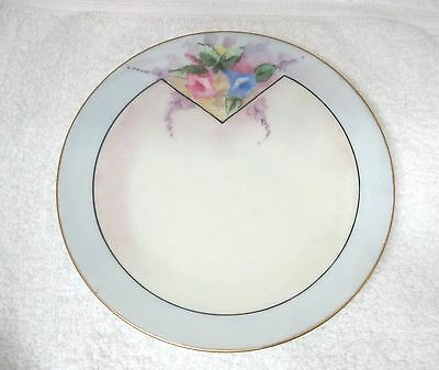"""Vintage Hand Painted Plate Morning Glories Trumpet Flowers Deco Cottage 7 3/4"""""""