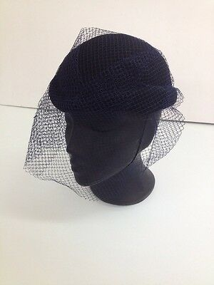 Unbranded - Black Small Bowler Hat with Navy Blue Net Veil Ladies Formal Hat