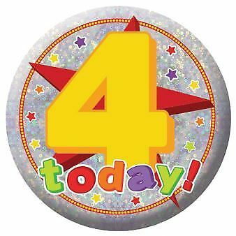 Holography Happy 4th Birthday Badge 4 Today Party Celebration