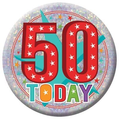 Holographic Happy 50st Birthday Badges 50 Today Party Accessories