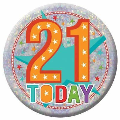 Holographic Happy 21st Birthday Badges 21 Today Party Accessories