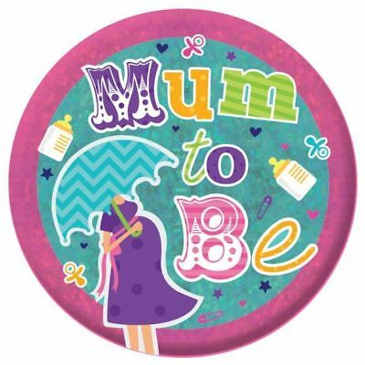 Mum to Be Large Holographic Badge Baby Shower Party Accessory