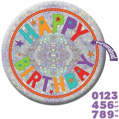 15cm Holographic Add An Age Birthday Badge Party Decoration Accessory
