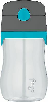 THERMOS FOOGO 11-Ounce Straw Bottle, Charcoal/Teal