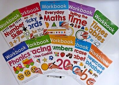 Wipe Clean Learning Pack 10 books Alphabets Numbers Writing Kids Age 3+ with Pen
