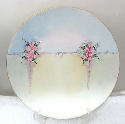 """Vintage Hand Painted Plate Pink Floral Garland Deco Cottage 7 3/4"""" Czech"""