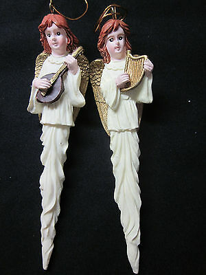 New vintage 2 angels music instruments tall skinny gilt wings Xmas ornaments