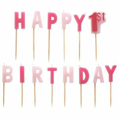 14pk Happy 1st Birthday Candles Pink Cake Topper Decoration Party Celebration