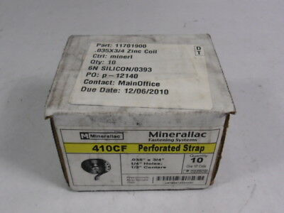 """Minerallac 410CF Zinc-Plated Steel Coil Perforated Strap 0.35"""" x 0.75""""  NEW"""
