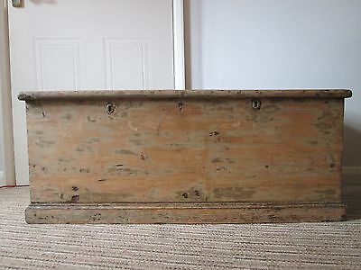 Antique Vintage Victorian Old Pine Chest Toy Trunk Blanket Box Coffee Table