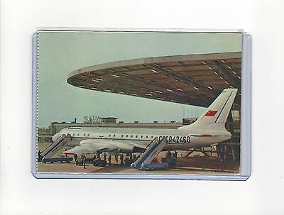 Aeroflot airlines issued late 60s TU-104 at Moscow  cont/l  postcard
