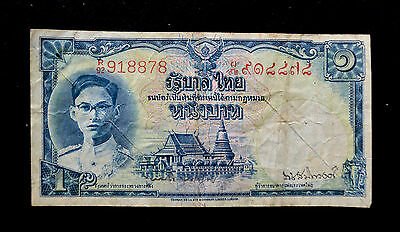THAILAND 1948 1 BAHT KING RAMA IX RED NUMBERS BANKNOTE P-69a.4